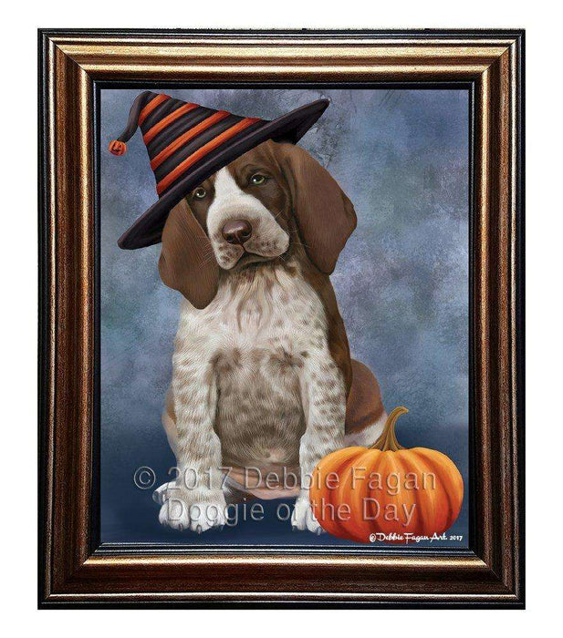 Braco Italiano Puppy Dog Wearing Witch Hat with Pumpkin Framed Canvas Print Wall Art