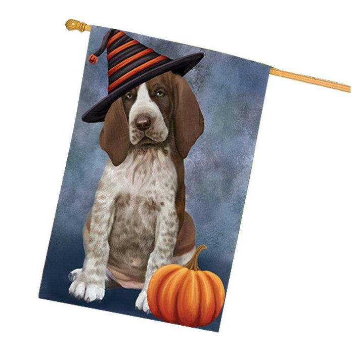 Braco Italiano Puppy Dog Wearing Witch Hat with Pumpkin House Flag