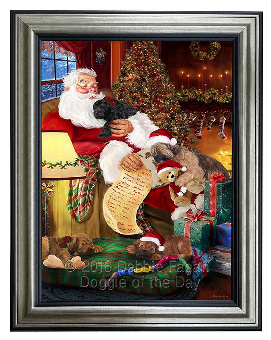 Briard Dog and Puppies Sleeping with Santa Framed Canvas Print Wall Art
