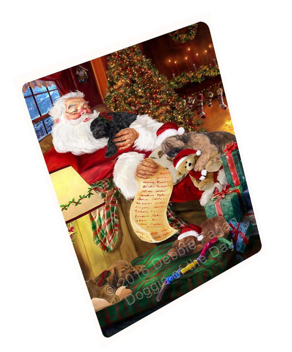 Briard Dog and Puppies Sleeping with Santa Magnet