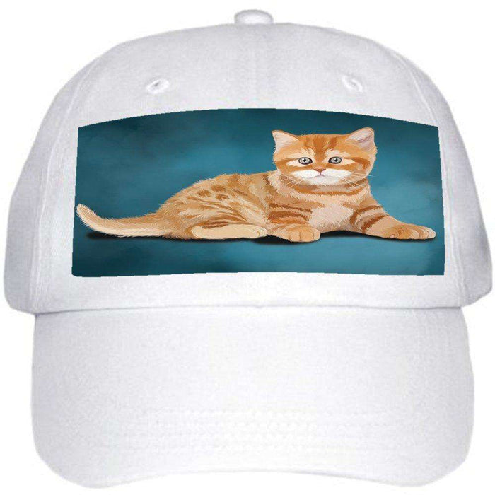 British Orange Kitten Cat Ball Hat Cap Off White