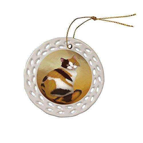 British Shorthair Cat Christmas Doily Ceramic Ornament