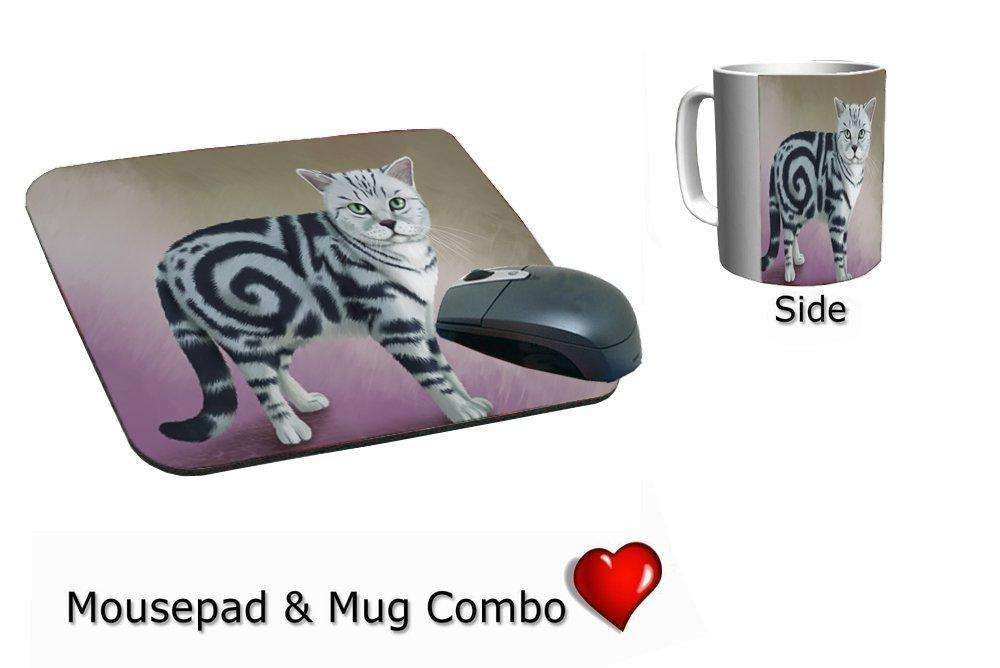 British Shorthair Cat Mug & Mousepad Combo Gift Set