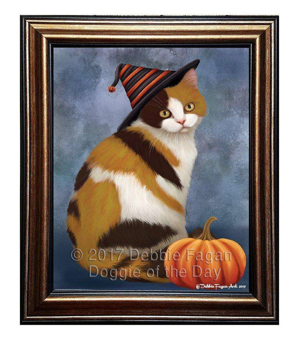 British Shorthair Cat Wearing Witch Hat with Pumpkin Framed Canvas Print Wall Art (12x18, Black)