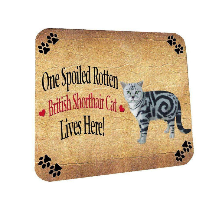 British Shorthair Spoiled Rotten Cat Coasters Set of 4