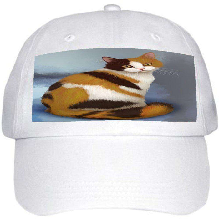 British Shorthaired Calico Cat Ball Hat Cap Off White