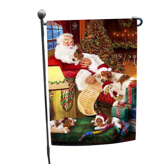 Brittany Spaniel Dog and Puppies Sleeping with Santa Garden Flag