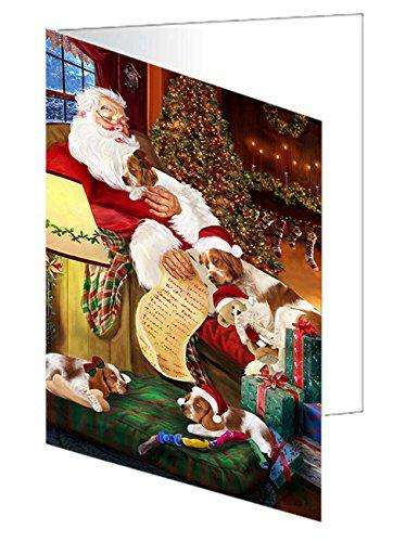 Brittany Spaniel Dog and Puppies Sleeping with Santa Greeting Card