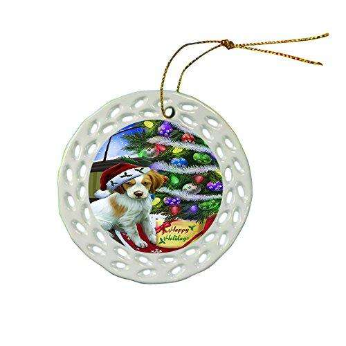 Brittany Spaniel Dog Christmas Doily Ceramic Ornament