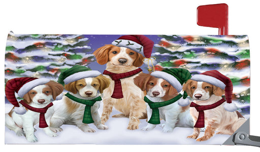 Magnetic Mailbox Cover Brittany Spaniels Dog Christmas Family Portrait in Holiday Scenic Background MBC48208