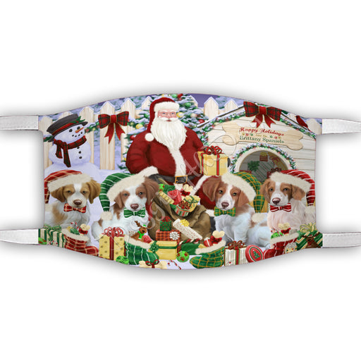 Happy Holidays Christmas Brittany Spaniel Dogs House Gathering Face Mask FM48230