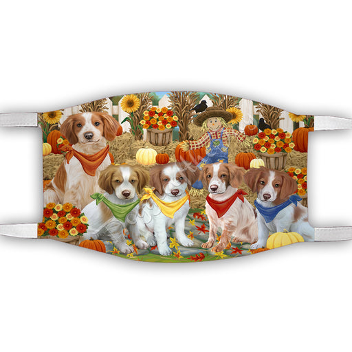 Fall Festive Harvest Time Gathering  Brittany Spaniel Dogs Face Mask FM48519