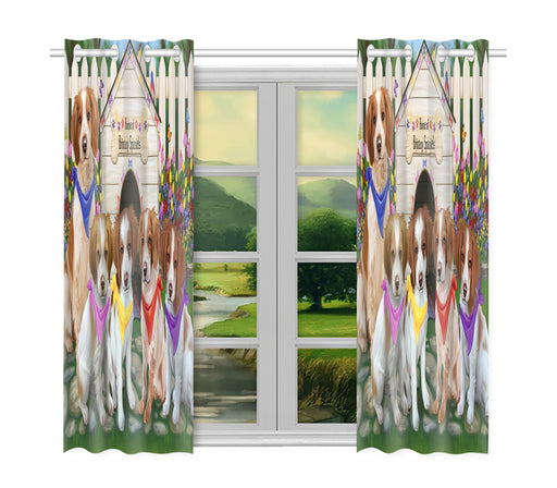 Spring Dog House Brittany Spaniel Dogs Window Curtain