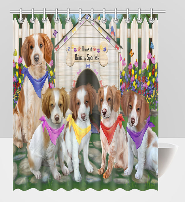 Spring Dog House Brittany Spaniel Dogs Shower Curtain