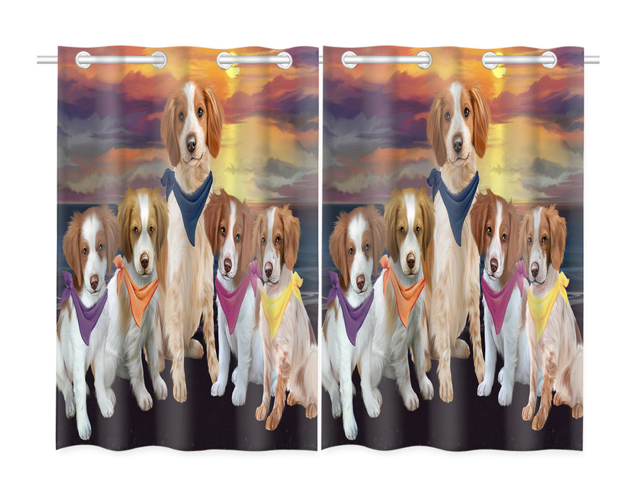 Family Sunset Portrait Brittany Spaniel Dogs Window Curtain