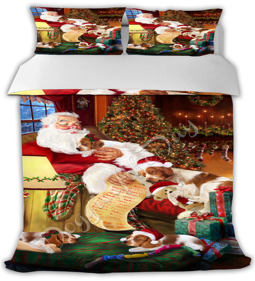 Santa Sleeping with Brittany Spaniel Dogs Bed Duvet Cover DVTCVR49526