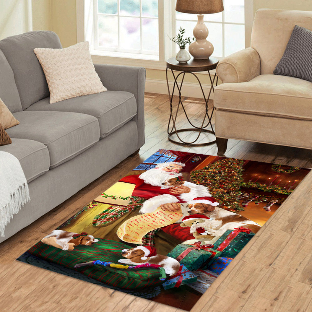 Santa Sleeping with Brittany Spaniel Dogs Area Rug