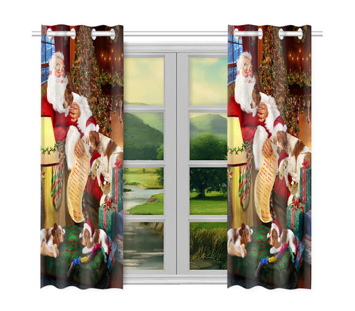 Santa Sleeping with Brittany Spaniel Dogs Window Curtain