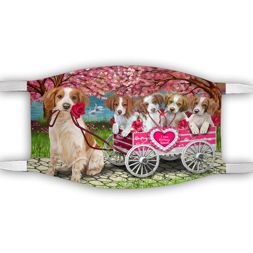 I Love Brittany Spaniel Dogs in a Cart Face Mask FM48128