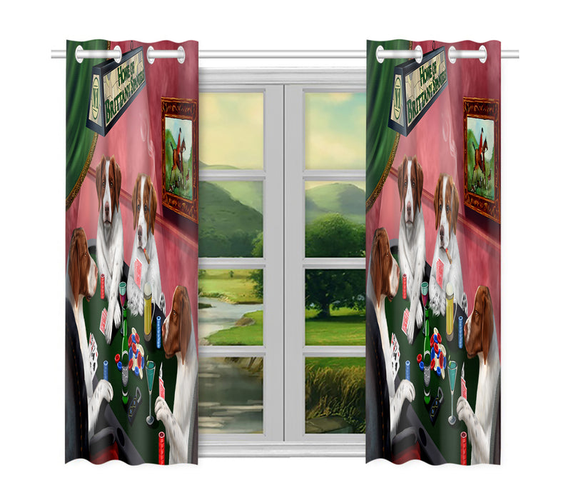 Home of  Brittany Spaniel Dogs Playing Poker Window Curtain