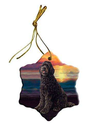 Brown Labradoodle Dog Christmas Snowflake Ceramic Ornament