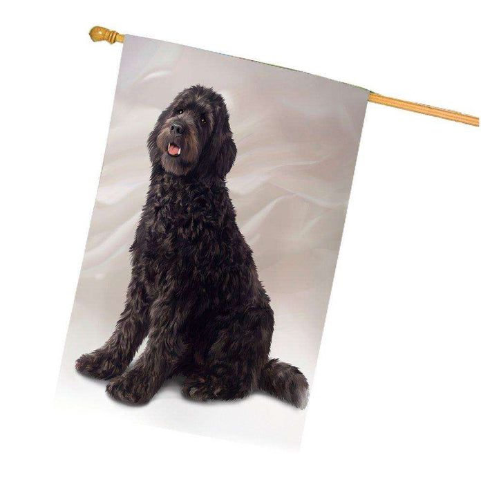 Brown Labradoodle Dog House Flag