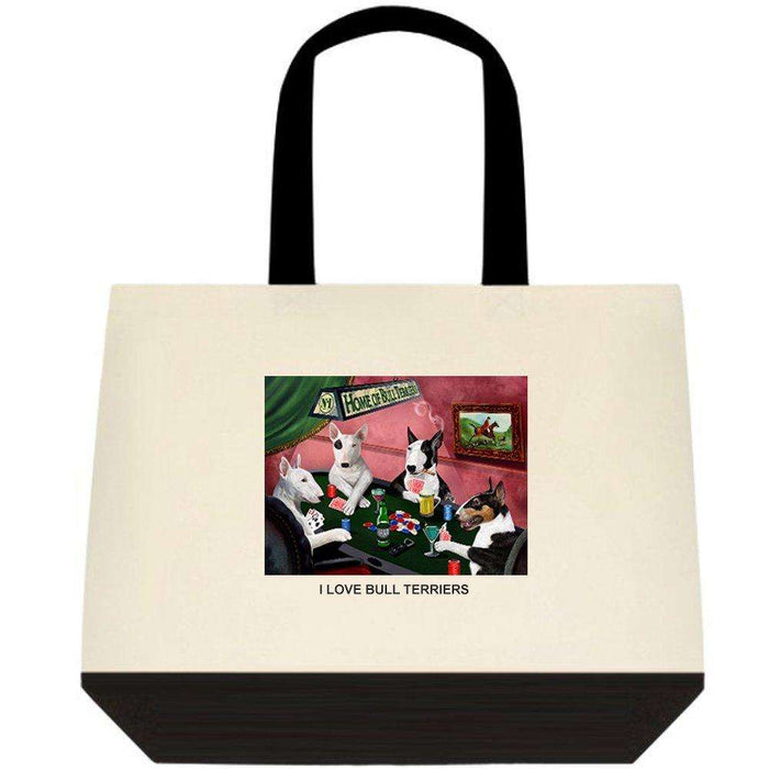 Bull Terrier 4 Dogs Playing Poker Two-Tone Deluxe Classic Cotton Tote Bags