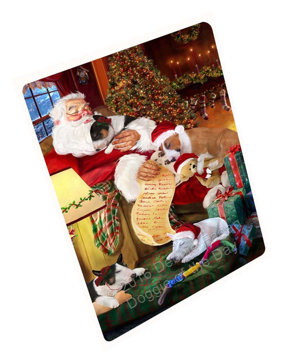 Bull Terrier Dog and Puppies Sleeping with Santa Magnet