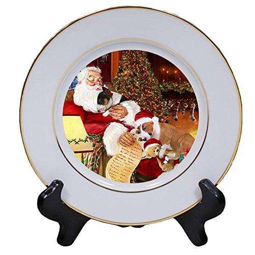 Bull Terrier Dog and Puppies Sleeping with Santa Porcelain Plate