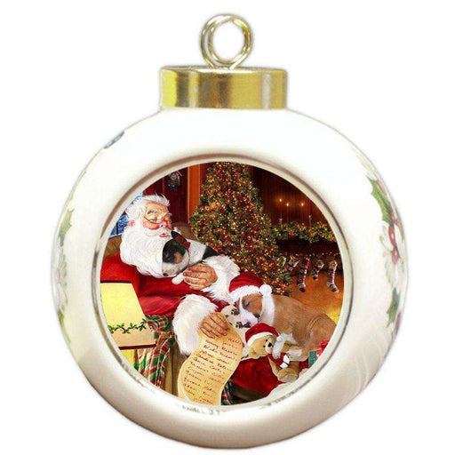 Bull Terrier Dog and Puppies Sleeping with Santa Round Ball Christmas Ornament D423
