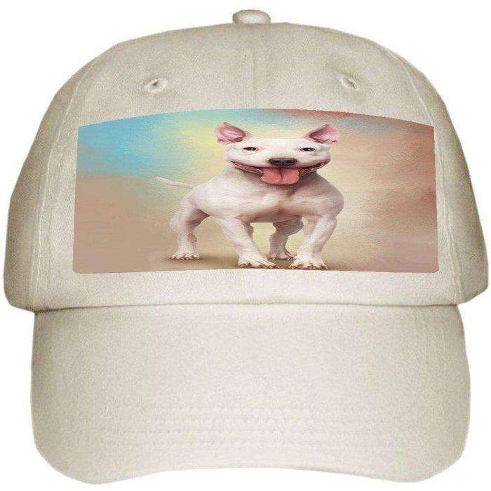 Bull Terrier Dog Ball Hat Cap Off White