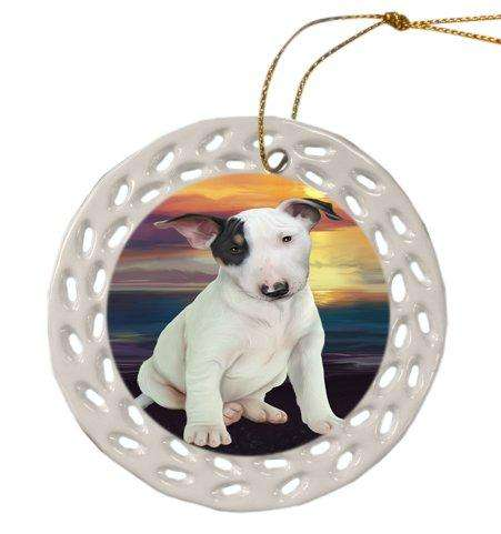 Bull Terrier Dog Christmas Doily Ceramic Ornament