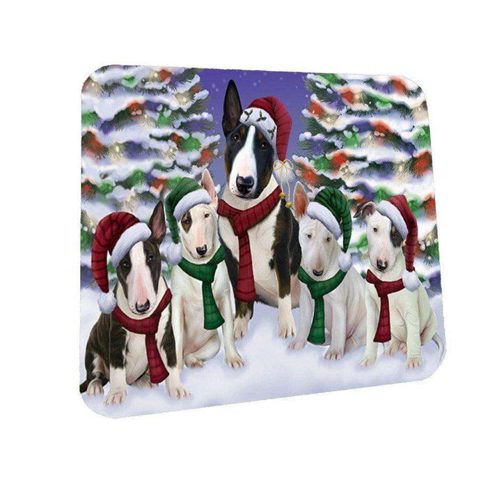Bull Terrier Dog Christmas Family Portrait in Holiday Scenic Background Coasters Set of 4