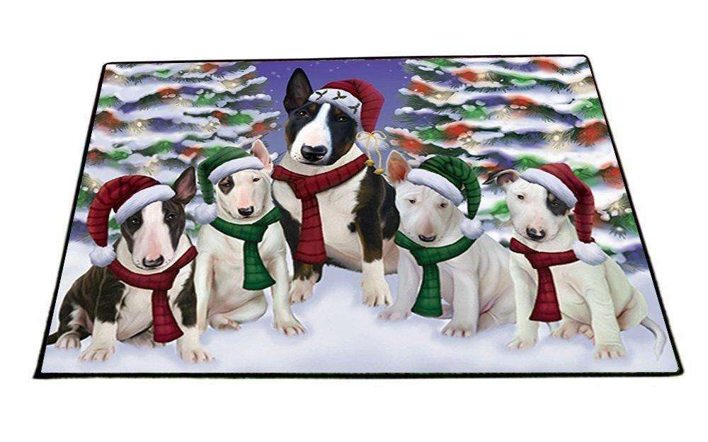 Bull Terrier Dog Christmas Family Portrait in Holiday Scenic Background Indoor/Outdoor Floormat