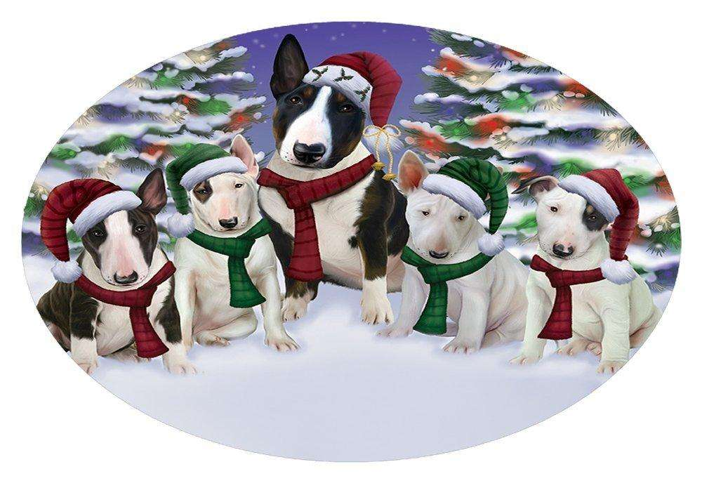 Bull Terrier Dog Christmas Family Portrait in Holiday Scenic Background Oval Envelope Seals