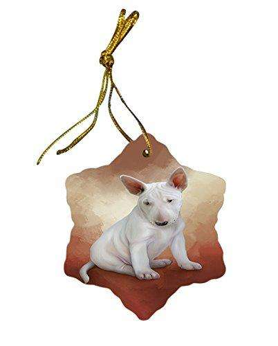 Bull Terrier Dog Christmas Snowflake Ceramic Ornament