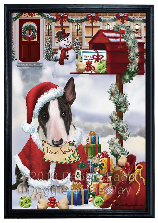 Bull Terrier Dog Dear Santa Letter Christmas Holiday Mailbox Framed Canvas Print Wall Art FCVS147926