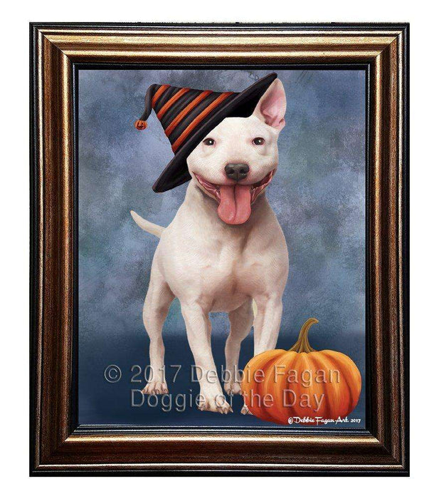 Bull Terrier Dog Wearing Witch Hat with Pumpkin Framed Canvas Print Wall Art