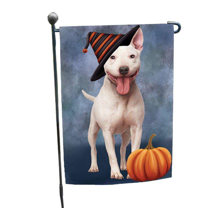 Bull Terrier Dog Wearing Witch Hat with Pumpkin Garden Flag