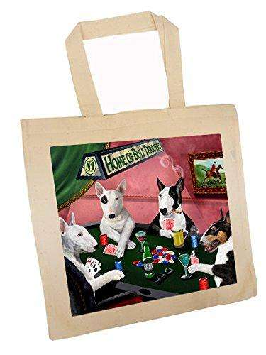 Bull Terriers Four Dogs Playing Poker Tote