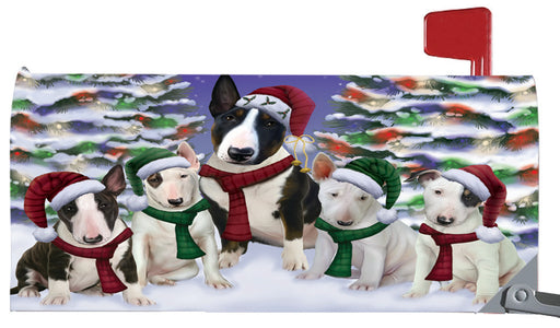 Magnetic Mailbox Cover Bull Terriers Dog Christmas Family Portrait in Holiday Scenic Background MBC48209