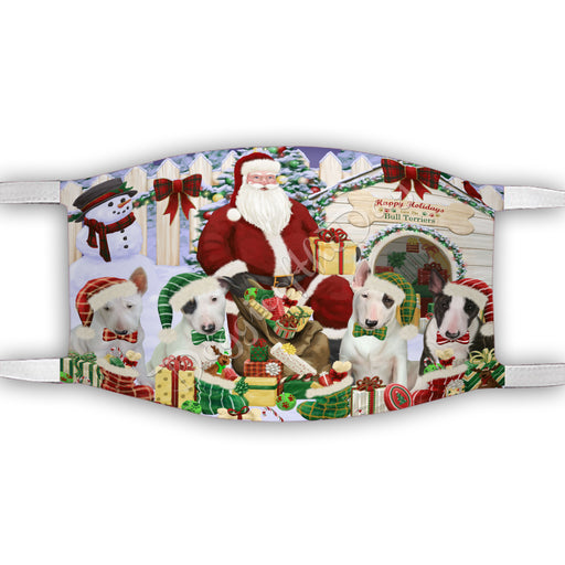 Happy Holidays Christmas Bull Terrier Dogs House Gathering Face Mask FM48231