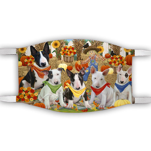 Fall Festive Harvest Time Gathering  Bull Terrier Dogs Face Mask FM48520