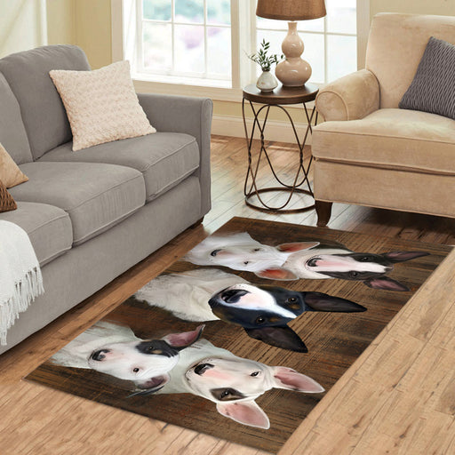 Rustic Bull Terrier Dogs Area Rug