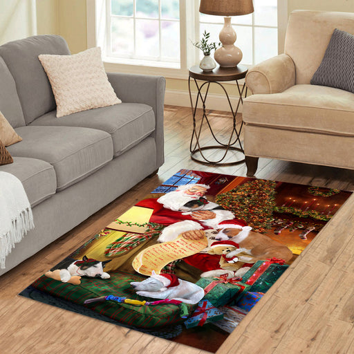 Santa Sleeping with Bull Terrier Dogs Area Rug