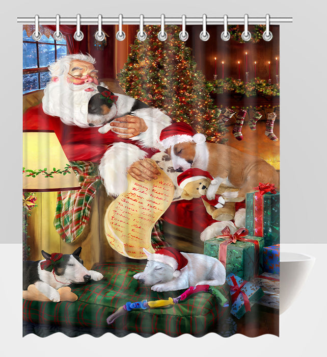 Santa Sleeping with Bull Terrier Dogs Shower Curtain