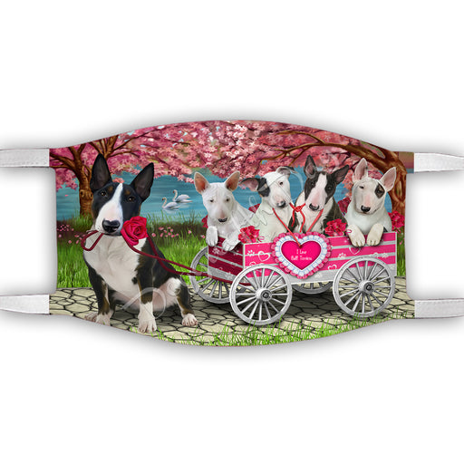 I Love Bull Terrier Dogs in a Cart Face Mask FM48129