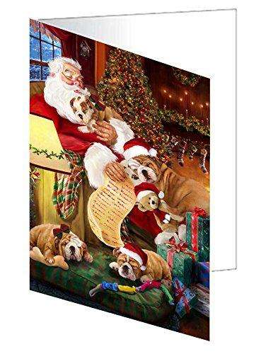Bulldog Dog and Puppies Sleeping with Santa Greeting Card