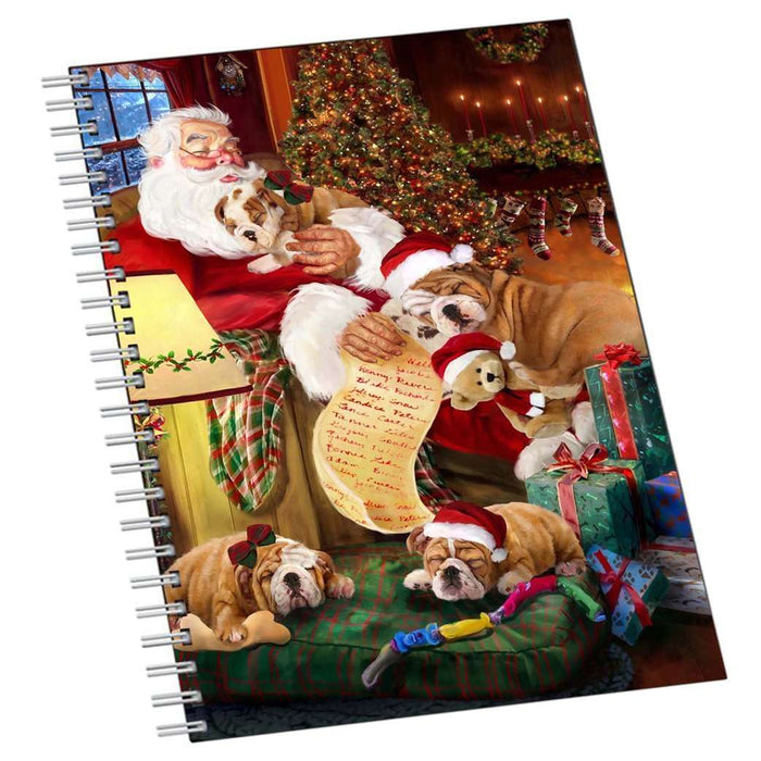 Bulldog Dog and Puppies Sleeping with Santa Notebook
