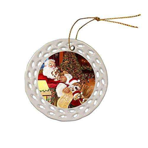 Bulldog Dog Christmas Doily Ceramic Ornament